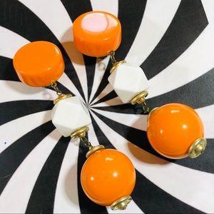 Vintage 1980's orange white gold dangle earrings